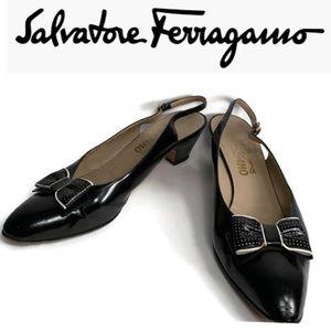 Salvatore Ferragamo Black Patent Leather Heels.
